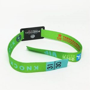 Disposable Festival NFC Bracelet NTAG216 NFC Ticket Woven Wristband Fabric QR code Bracelet
