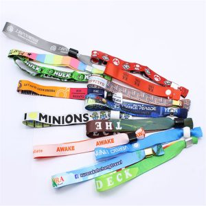 Custom NFC polyester bracelet rfid fabric woven wristband for event E-tickets