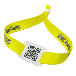 NFC QR bracelet N-tag 215 RFID ticket woven wristband/bracelet for cashless solution