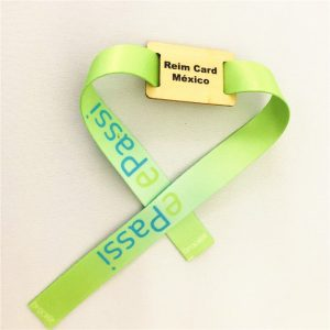 Waterproof Topaz 512 NFC wooden chip tag with woven wristband RFID fabric bracelet