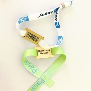 Hot sale rfid wooden tag bracelet TK 4100 festival woven wristbands