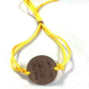 ISO14443A NFC NTAG 216 wooden tag bracelet round wood card thin string rope wristband