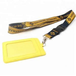 Customized Printing logo Adjustable Lanyard with buckle and safety buckle for card holder