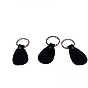Low frequency EM4200 leather keychain rfid access control keyfob