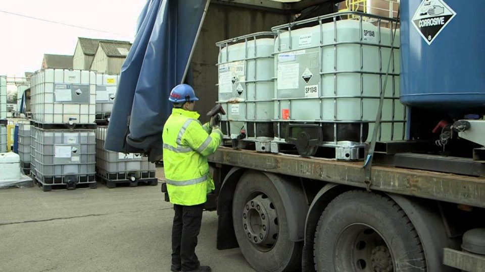How does RFID technology control hazardous chemicals?