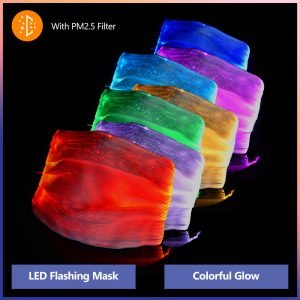 Led Multi-Color Luminous Face Mask Fiber Optic Fabric Light  Life Protective Mask For Halloween